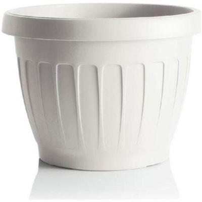 "Bama vaso da giardino tondo ""TERRA"" in plastica 25 cm bianco"