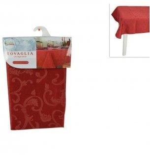 tovaglia rossa natalizia jacquard 150 x 180 cm