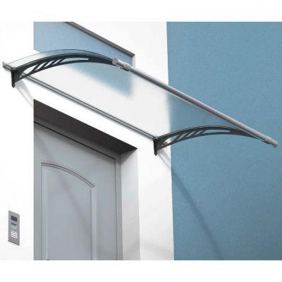 Pensilina tettoia modulabile in policarbonato compatto trasparente per porte e finestre 100 x 60 cm