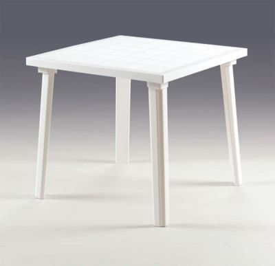 Tavolo in resina WEEK-END bianco quadrato 80x80