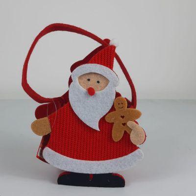 Cestini in feltro con sagoma di Babbo Natale porta oggetti 15cm