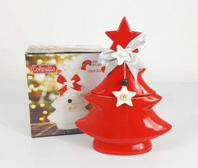 Porta oggetti a forma di albero cofanetto in ceramica