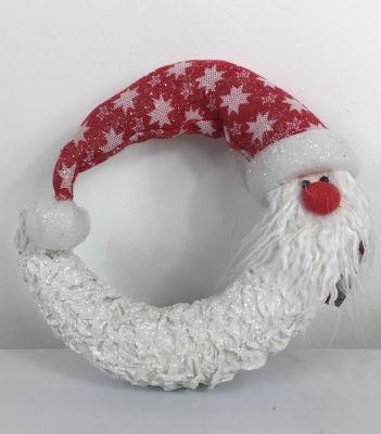 Mezza luna natalizia dietro porta Babbo Natale in polistirolo e tessuto 30CM