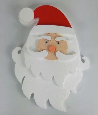 Babbo Natale sagoma viso in polistirolo grande festone 40cm