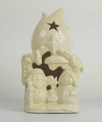Sacra famiglia con capanna  in ceramica bianca con led all'interno