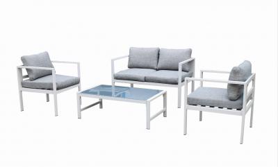 Set salotto da giardino WIN in alluminio bianco con cuscini grigio divano poltrone e tavolo da caffè arredo esterno