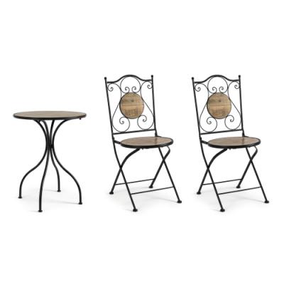 Set da Giardino 3 Pezzi Metallo e Ceramica Tavolino 2 Sedie Kansas di Bizzotto