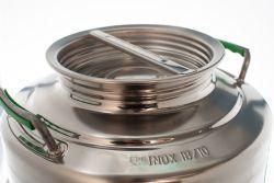Fusto contenitore olio o vino fondo intero a pentola in acciaio inox 18/10 bocca larga 30/50 Litri predisposto per rubinetto-BELVIVERE