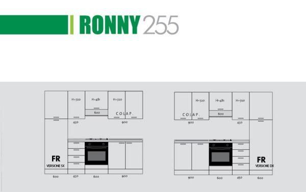 CUCINA RONNY TORTORA LUCIDO-cucina bloccata:2,55 mt 2,16h