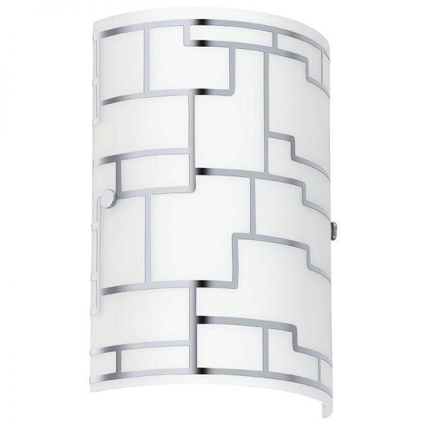 EGLO LAMPADA DA PARETE IN ACCIAIO CROMATO E VETRO CON DECORO BIANCO E CROMATO 18X25 cm