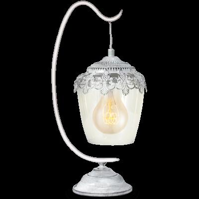 EGLO LAMPADA DA TAVOLO IN ACCIAIO BIANCO E VETRO 17X29 cm