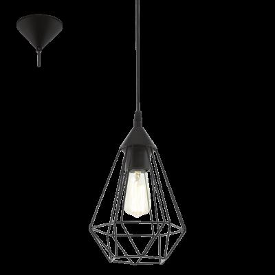 EGLO LAMPADA A SOSPENSIONE IN ACCIAIO E PLASTICA NERA 17,5X110 cm