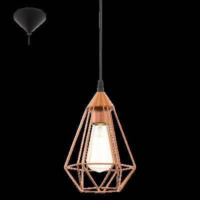 EGLO LAMPADA A SOSPENSIONE IN ACCIAIO E PLASTICA NERA E RAME 17,5X110 cm