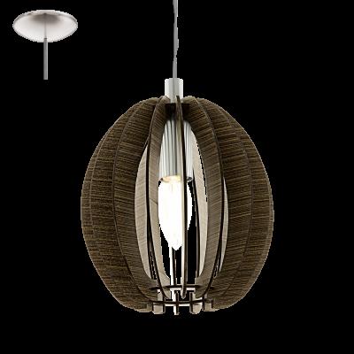 EGLO LAMPADA A SOSPENSIONE IN ACCIAIO COLOR NICKEL OPACO E LEGNO MARRONE 19X130 cm