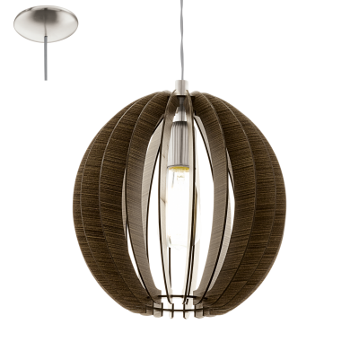 EGLO LAMPADA IN ACCIAIO COLOR NICKEL OPACO E LEGNO MARRONE 30X130 cm