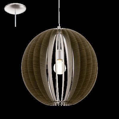 EGLO LAMPADA A SOSPENSIONE IN ACCIAIO COLOR NICKEL OPACO E LEGNO MARRONE 50X150cm