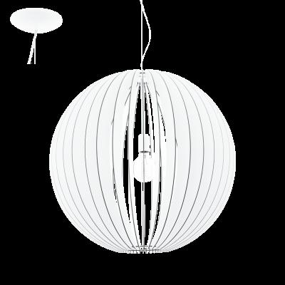 EGLO LAMPADA A SOSPENSIONE IN ACCIAIO E LEGNO BIANCO 70X200cm