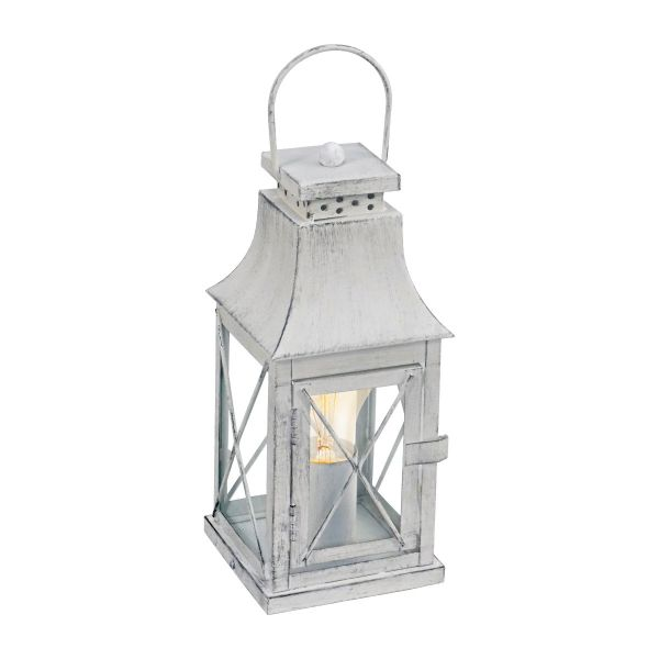 EGLO LAMPADA DA TAVOLO IN ACCIAIO GRIGIO CHIARO E VETRO 12X12X29,5 cm