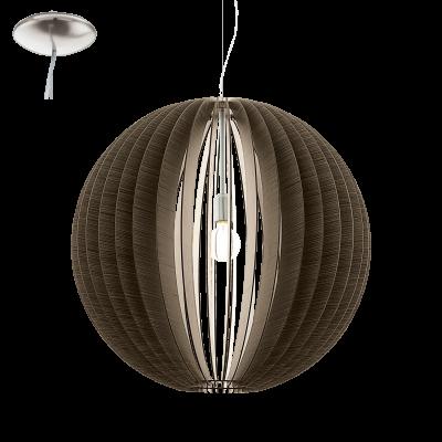 EGLO LAMPADA A SOSPENSIONE IN ACCIAIO COLOR NICKEL OPACO E LEGNO MARRONE 45X150cm