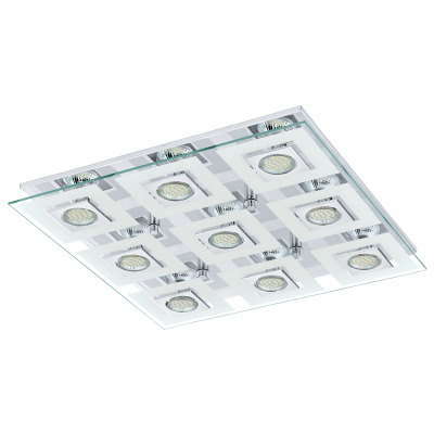 EGLO LAMPADA DA SOFFITTO IN ACCIAIO INOX CROMATO E VETRO 47X7cm