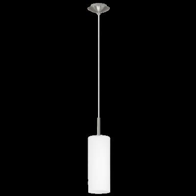EGLO LAMPADA A SOSPENSIONE IN ACCIAIO COLOR NICKEL OPACO E VETRO SATINATO 110X10,5 cm