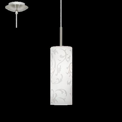 EGLO LAMPADA A SOSPENSIONE IN ACCIAIO COLOR NICKEL OPACO E VETRO STAMPATO DA 10,5cm