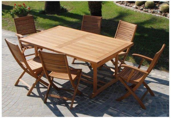 Tavolo da pranzo allungabile in legno Texas 180/260X110 Cm rettangolare arredo giardino