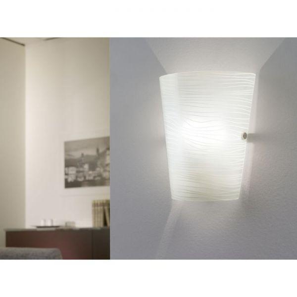 EGLO LAMPADA IN ACCIAIO CROMATO E VETRO SATINATO BIANCO 18,5X23 cm