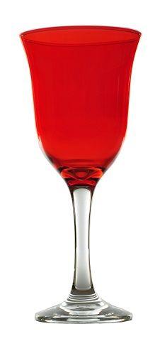 confezione di 6 Calici Vetro Rossi Acqua Vino 23 cl tavola Natale Natalizie