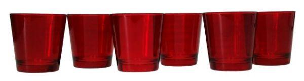 Confezione di 6 Bicchieri Vetro Rossi Acqua Bevanda Cocktail 35 cl Natale Natalizie