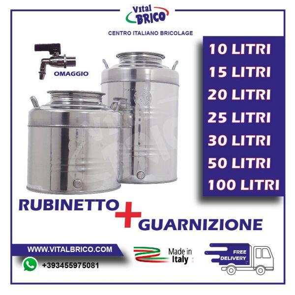 CONTENITORE ACCIAIO INOX PER OLIO LT 50 FUSTO  ( RUBINETTO OMAGGIO)